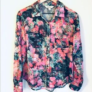 Decree Bright Floral Sheer Button Up Shirt Size M